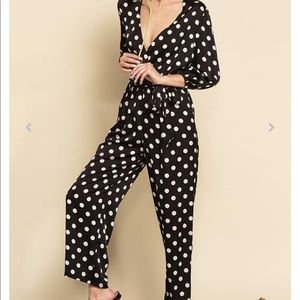 Lucca Couture Amiyah Polkadot Jumpsuit size XS